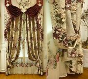 Jacquard Window Curtains Ceiling Installation Woven Pleated Floral Curtain Decor