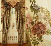 Woven Window Curtains Embossed Floral Peacock Patterned Ceiling Installation New