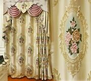 Home Window Curtain Cloth Voile Ceiling Installation Floral Woven Curtains Decor