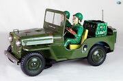 Awesome 1950 Vintage Japanese Green Jeep Willys No. 1 Army Soldiers Toy Car