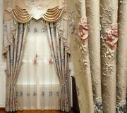 Jacquard Embossed Window Curtains Treatment Cloth Voile Floral Woven Decorations