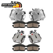 Front+rear Brake Calipers And Ceramic Pads For 2004 2005 2006 - 2008 Chevy Malibu