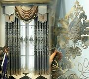 European Tulle Cloth Curtains Voile Floral Classic Embroidered Window Treatments