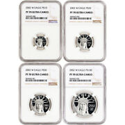 2002 W American Platinum Eagle Proof Four Coin Set Ngc Pf70 Ucam