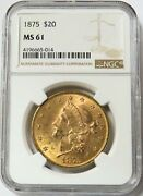 1875 Gold 20 Liberty Double Eagle Coin Ngc Mint State 61