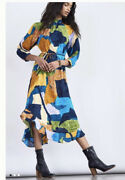 158 Nwt Sz L Jessamine Mock Neck Colorblock Maeve Maxi Dress Anthropologie Blue