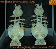 Rare China Hetian Jade Carved Kwan-yin Belle Beauty Musical Lute Qin Statue Pair