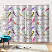 Dreamy Feathers Of Different Sizesprinting 3d Blockout Curtains Fabric Window