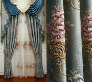 Jacquard Embossed Window Curtains Floral Cloth Voile Tulle Home Hanging Textiles