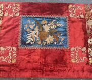 Exceptional 19th C Rich Embroidered Silk Velvet Table Cover / Cloth