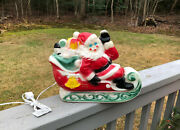 Vintage Empire 12 Santa Claus On Sleigh Lighted Christmas Blow Mold