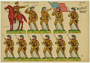 Rare - Uncut Sheet - Wwi Marines 11 Paper Soldiers - 1918 Toy Dolls