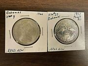 2 Silver 2 Bahama Coins 1971 Bu Proof And 1966 Uncirculated- Free Shipping