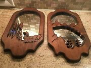 Lot 2 Rustic Lodge Cabin Wood Wall Decor Duck Cattails Cutouts Vintage 19x10
