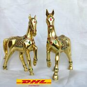 2 X Wooden Horses Running Gold Stained Glass Decoration Home Collectible