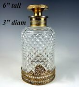 Antique French Baccarat 6 X 3 Cut Crystal Decanter Scent Bottle Dore Bronze