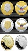 Lot 10 Trump Commemorative Coins Gold Face Silver Face Or Plain Gold And Silver