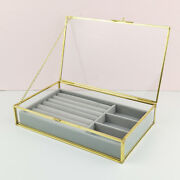 Antique Beauty Display Jewelry Case Holder Clear Glass Cosmetic Storage Makeup