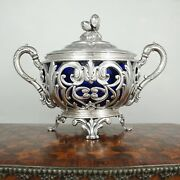 Antique French Sterling Silver Sugar Bowl Cobalt Blue Glass Ornate Reticulated