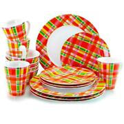 Oui By French Bull Multicolor Plaid 16 Piece Round Porcelain Dinnerware Set Usa