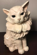 Vtg Kay Finch Hand Painted Sitting Cat Persian Figurine 10 3/4h Mint Condition