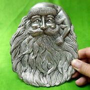 Art Santa Claus Christmas -party Pewter Silver Plated Old Serving Platter 6.5