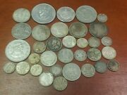 Mixed Lot Silver Foreign Coins Some Better Types 200 Grams 33 Coins 1