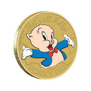 Tuvalu 2018 Looney Tunes Porky Pig Thatand039s All Folks 1 Coloured Unc Coin Carded