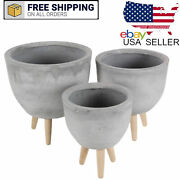 Set Of 3 Contemporary Fiber Clay Planters With Wooden Stands Indoor Outdoor Deco