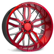 24 Inch 24x12 Axe Forged Ax1.2 Candy Red Wheels Rims 8x6.5 8x165.1 -44
