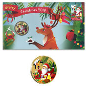 Australia 2019 Merry Christmas Stamp And 1 Coloured Unc Coin Cover - Pnc