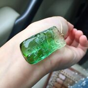 4121.510.5mm Natural Clear Watermelon Tourmaline Crystal Carving Pendant Aaaa