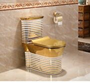 Inart Ceramic One Piece Dual Flush Toilet With Soft Closing Seat Gold Color 5g1
