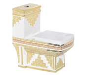 Inart Ceramic One Piece Dual Flush Toilet With Soft Closing Seat Gold Color 91d