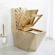 Inart Ceramic One Piece Dual Flush Toilet With Soft Closing Seat Gold Color 4g1