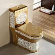 Inart Ceramic One Piece Dual Flush Toilet With Soft Closing Seat Gold Color 5g2