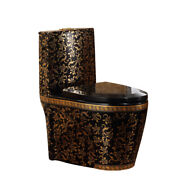Inart Ceramic One Piece Dual Flush Toilet With Soft Closing Seat Blac Gold Color