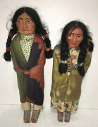 """Native American 1940's Indian Skookum Doll Chief Male 14"""" Female W/ Baby 12 Set"""
