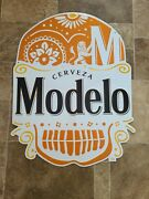 Modelo Beer Skull Head Day Of The Dead Tin Advertising Sign Game Room Man Cave