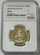 1975/1973 Gold Bahamas 1260 Minted 100 Independence Day Coin Ngc Mint Staet 67