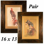 Pair 2 Antique To Vintage Pastel Portraits Of Soldiers In Uniform, High Hats
