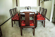 Vintage Rosewood Oriental Oval Dining Table Set 9 Pieces