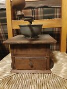 Antique Dovetailed Wood Coffee Grinder Wrought Iron Crank Drawer