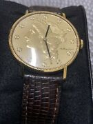 Mathey Tissot 20 Coin 18k Gold Watch Mechanical On Genuine Lizard Leather Band