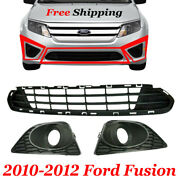 Ford Fusion Lower Grille W/ Lh And Rh Fog Light Lamp Bezel Pair Fits 2010-2012 3pc