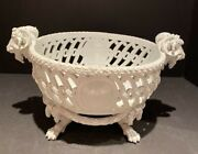 """Meissen 18th Century Porcelain Reticulated Bowl With Goat Handles 15""""x 9""""x 7.5"""""""
