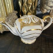 Beautiful Vintage Arthur Wood Staffordshire England 4427 Ivory And Gold Teapot
