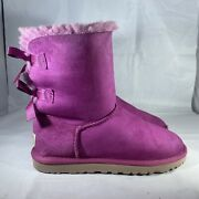 Uggs Australia Bailey Bow 1002954 Women Hot Pink Suede Boots Size 6