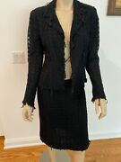05a Mesh/tulle Cc Logo Skirt And Jacket Set Suit Fr40 Us8