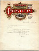 Very Scarce 1917 Newport Ky Letterhead Donaldson Litho Circus Theatrical Posters